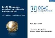 Les 50 Champions mondiaux de la Grande Consommation
