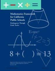 Mathematics Framework for California Public Schools