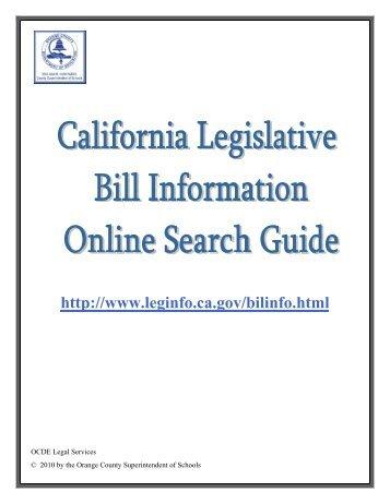 California Legislative Bill Information Online Search Guide