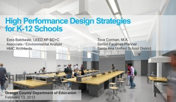 High Performance Design for K12 Schools - Orange County ...