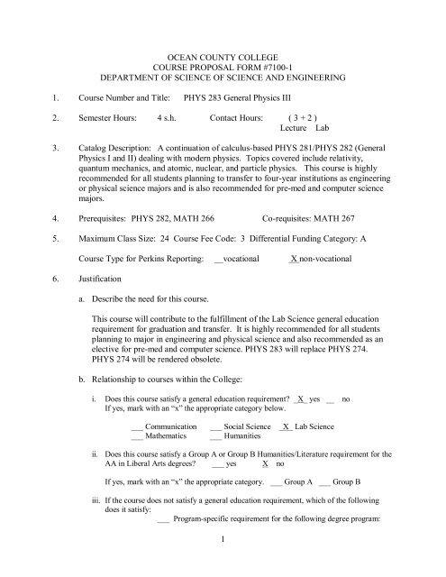 Course Syllabus for PHYS 283 - Ocean County College