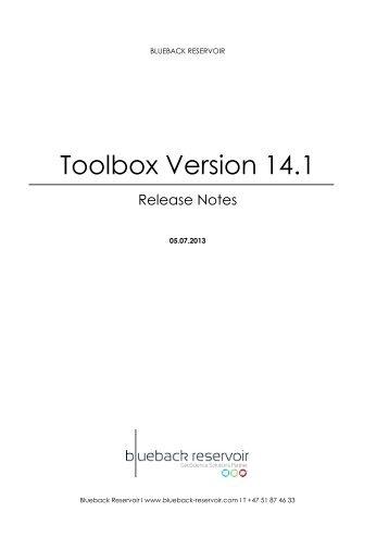 Toolbox Release Notes - Ocean