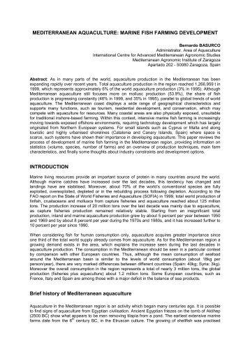 mediterranean aquaculture: marine fish farming ... - OceanDocs