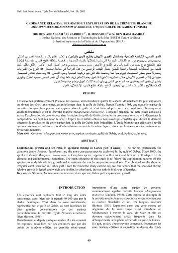Contribution à l'étude de la biologie de la crevette ... - OceanDocs