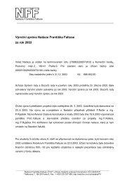 Výroční zpráva Nadace Františka Faltuse za rok 2003
