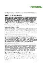 Informations pour la presse spécialisée - Festool