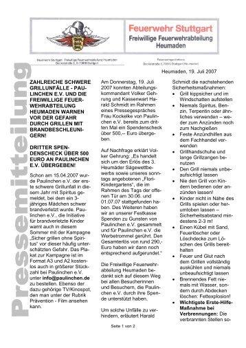 ZAHLREICHE SCHWERE GRILLUNFÄLLE ... - Feuerwehr Heumaden