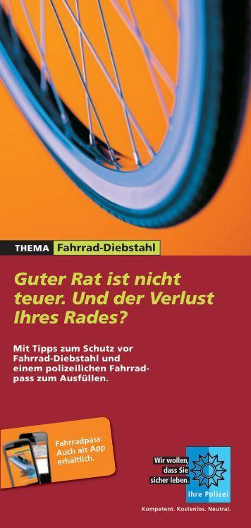 Fahrraddiebstahl - Tipps der Deutschen Polizei