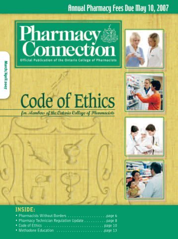 INSIDE: - Ontario College of Pharmacists