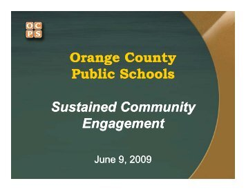 Orange County Public Schools Sustained Community Sustained ...