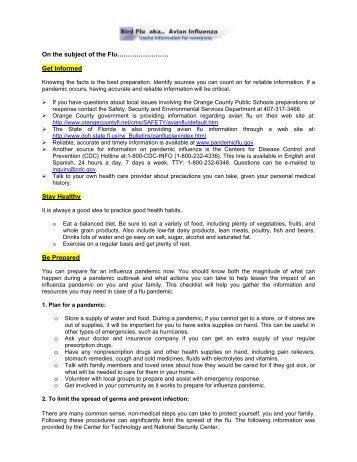 Bird Flu Information - Orange County Public Schools