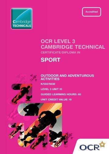 Level 3 - Unit 10 - Outdoor and adventurous activities - OCR