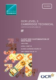 Level 3 - Unit 24 - Client side customisation of web pages ... - OCR