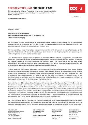 PRESSEMITTEILUNG PRESS RELEASE - DOK Leipzig