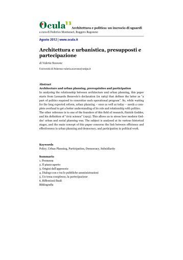 Architettura e urbanistica, presupposti e partecipazione - Ocula