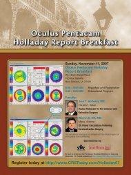 Saturday, November 10, 2007 Oculus Pentacam Breakfast