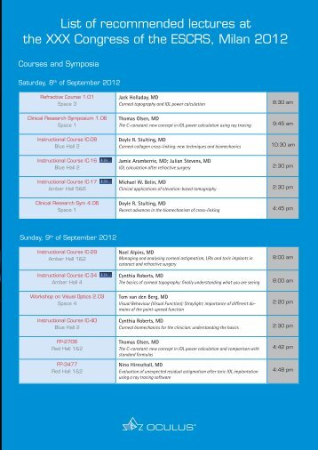 Download List of Recommended Lectures at ESCRS 2012 ... - Oculus