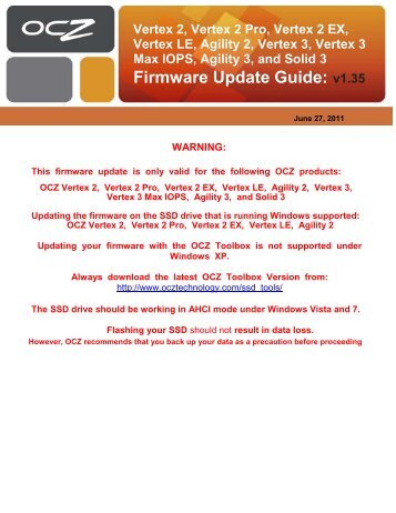 Ocz vertex 3 ssd firmware update