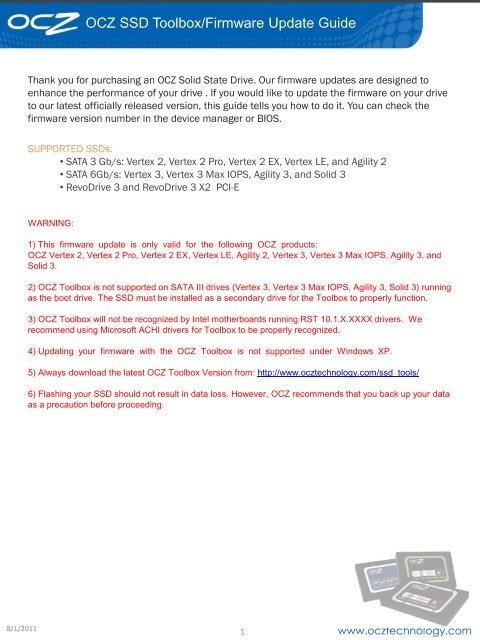 OCZ SSD Toolbox/Firmware Update Guide