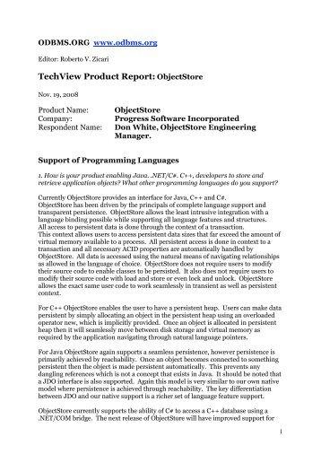 TechView Product Report: ObjectStore - ODBMS
