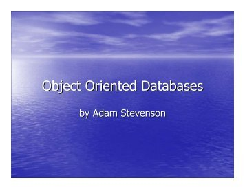 003.01 Object Oriented Databases - ODBMS