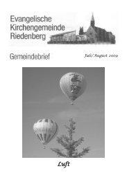 gottesdienstplan - Evangelische Kirchengemeinde Riedenberg