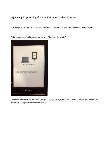 Vejledning til opsætning af Sony PRS-T1 med trådløst internet