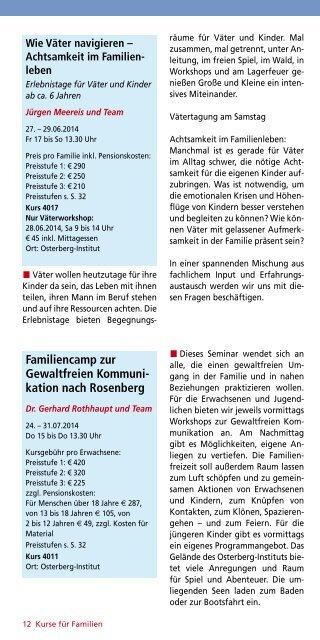 """Programmheft """"Forum Familie"""" - Odenwald-Institut"""