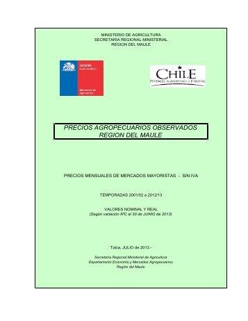 Precios mayoristas de mercados agropecuarios región del ... - Odepa