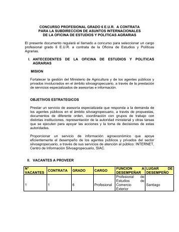 Profesional a Contrata Grado 6 E.U.R. - Odepa