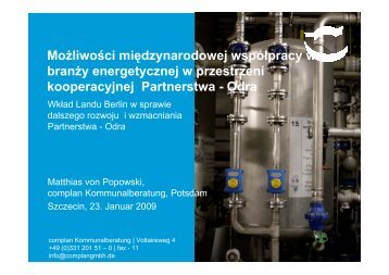 Możliwości międzynarodowej współpracy w branży energetycznej w ...