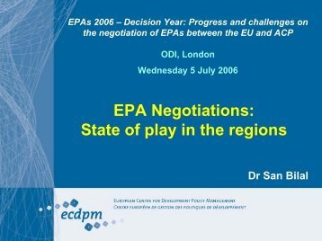 EPA Negotiations: State of play in the regions
