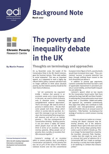 The poverty and inequality debate in the UK - Overseas ...