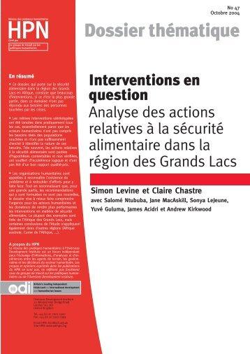 Interventions en question: Analyse des actions relatives à la sécurité ...