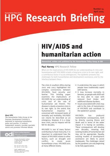 HIV/AIDS and humanitarian action - Overseas Development Institute