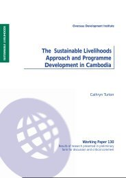 The Sustainable Livelihoods Approach and Programme - Overseas ...