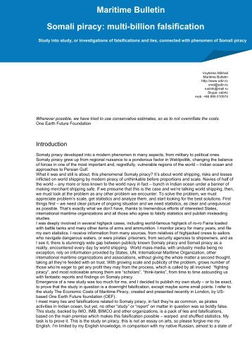 Maritime Bulletin Somali piracy: multi-billion falsification