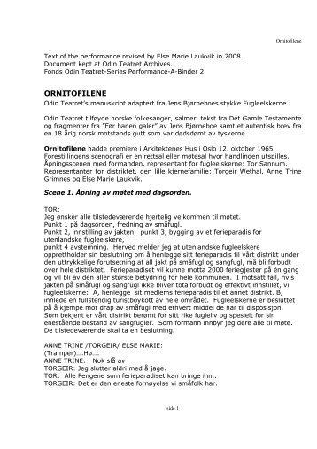 ORNITOFILENE - Odin Teatret Archives