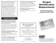 Oregon Identification Requirements - Oregon Department of ...