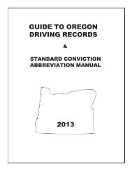Guide to Oregon Driving Records - Oregon Department of ...