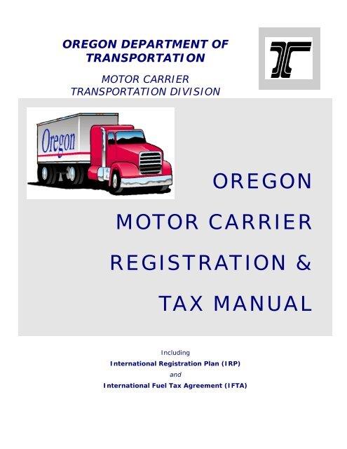 oregon motor carrier registration & tax manual - Oregon Department ...
