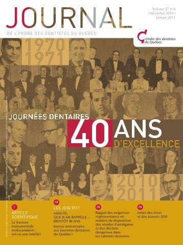 Décembre 2010 / janvier 2011 - Ordre des dentistes du Québec