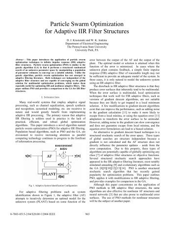 Particle Swarm Optimization for Adaptive IIR Filter Structures