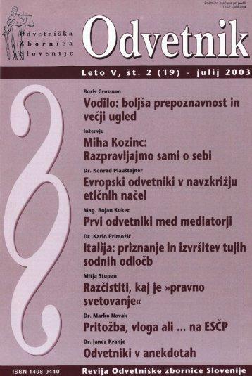 Številka 19 - Odvetniška Zbornica Slovenije