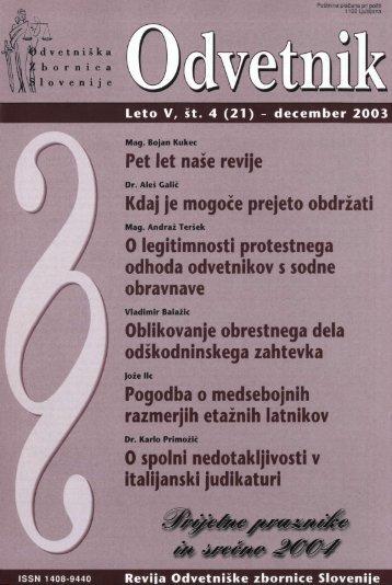 Številka 21 - Odvetniška Zbornica Slovenije