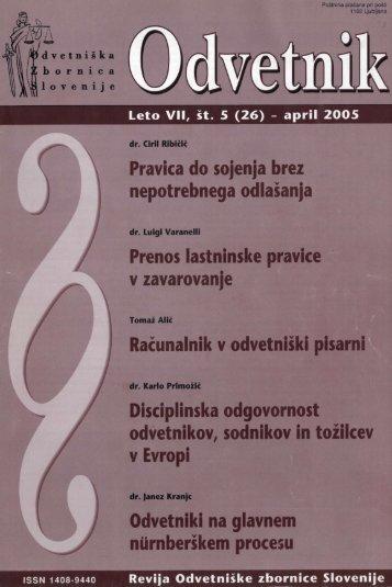 Številka 26 - Odvetniška Zbornica Slovenije