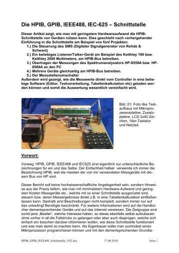Die HPIB, GPIB, IEEE488, IEC-625 – Schnittstelle