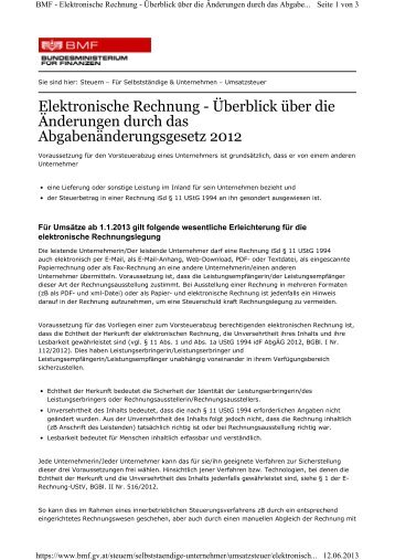Infos zum neuen E-Billing Verfahren ab 1. Jänner 2013