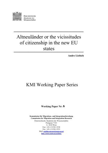 Altneuländer or the vicissitudes of citizenship in the new EU states