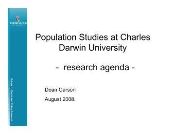 Population Studies at Charles Darwin University